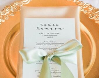 Wedding Menu Template, Wedding Menu Printable, Place Setting Menu, Table Menu, Menu Sign, Menu Card, Sign, PDF Instant Download #BPB318_4