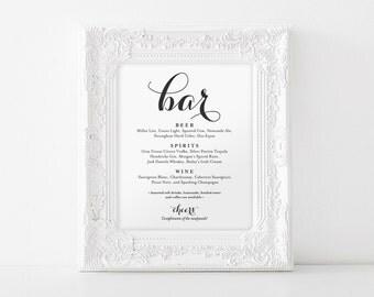 Bar Menu Sign, Bar Menu printable, Wedding Bar Sign, Bar Sign Printable, Wedding Sign, Reception Sign, PDF Instant Download #BPB133_58