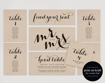 Wedding Seating Chart, Seating Plan Template, Wedding Seating Cards, Table Cards, Seating Cards, PDF Instant Download #BPB133_5