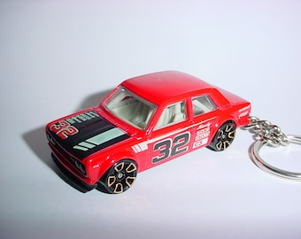 3D Datsun Bluebird custom keychain by Brian Thornton keyring key chain finished in red color trim diecast metal body