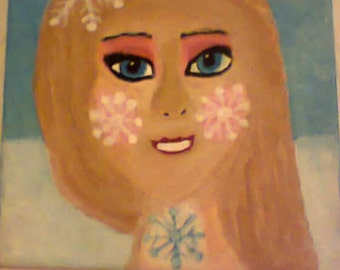 Frozen Snow Queen Hand Painted on canvas