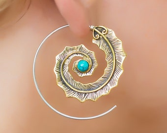 Bohemian feather earrings. boho earrings. handmade earrings. hippie earrings. spiral earrings. boho jewelry. large earrings. native american