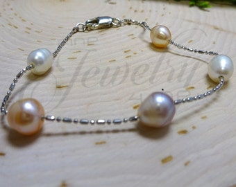 Genuine Pastel Pearl Bracelet Set
