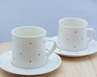 2 x Handmade Porcelain Espresso Cup and Saucer