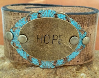 Boho leather cuff, Hope