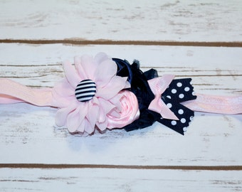 Navy and soft pink headband, photography  prop,  flower girl headband ,newborn headband , baby headband