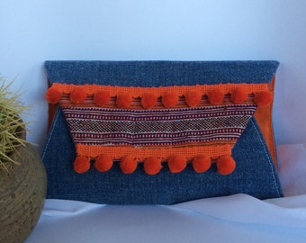Hmong/ fabric and suede clutch