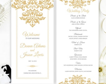 Marriage programs printed on luxury pearlescent paper | Gold damask wedding program cheap | Personalized tea-length programs for wedding