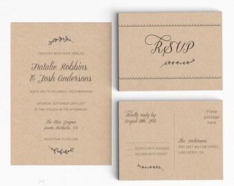 Rustic Wedding Invitation Suite, Wedding Invitation Printable, Invitation Set, Wedding Invitation Rustic, PDF Letter or A4 (Item code: P835)