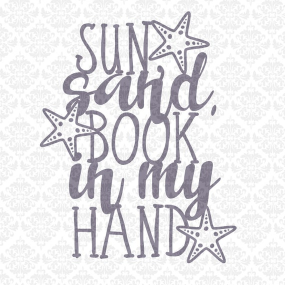 Sun Sand Book in my Hand Summer Beach Life Hair SVG DXF STUDiO PNG Ai Eps Vector Instant Download Commercial Cutting File Cricut Silhouette