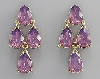 Opal Amethyst Tear Drop Crystal Earrings