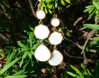White Enamel Geo dangle earrings