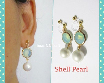 Green Opal Glass Rhinestone Clip on earring |14| White Pearl wedding clip on earring bridal clip on earring non pierced dangle drop earring