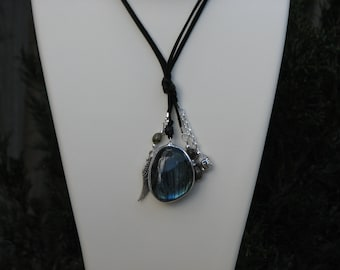 Labradorite Crystal Pendant with Angel Wing & Quan Yin  Pendants on Double Leather, Jewellery, Labradorescence Features, Jewelry