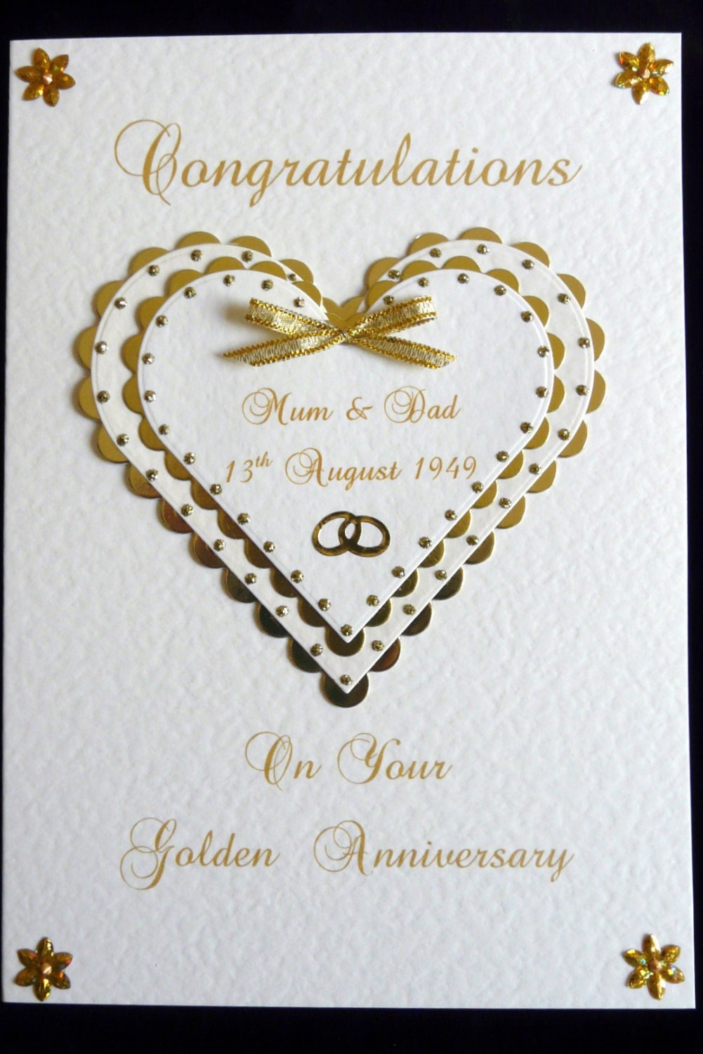 Personalised th golden wedding anniversary card a size