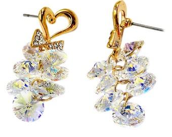 Sweety heart pendant crystal earrings