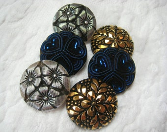 6 Modern Czech art glass buttons, 27MM luster black and white glass FREE SHIPPING