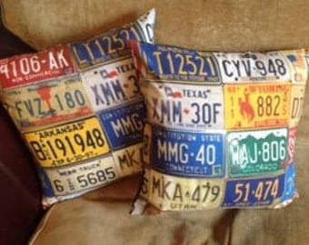 American number plate cushion