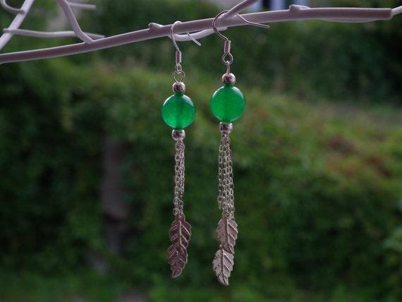 Green Jade & 925S Silver Earrings