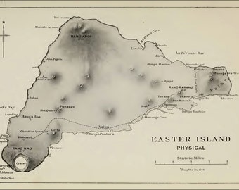 24x36 Poster . Easter Island Physical Map 1920