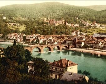 24x36 Poster . Heidelberg Germany Photochrom 1890