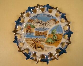Vintage South Dakota Souvenir Plate Black Hills and Badlands