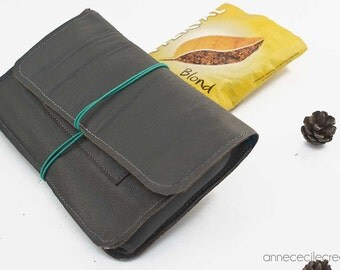 leather tobacco pouch,  tobacco pouch wallet, tobacco case, grey leather tobacco pouch, fathers day, idea for men,  crafted