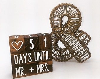 Stained Wedding Countdown Blocks