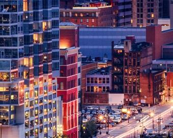 Cincinnati Cityscape photography, urban art, office decor, city lights, long exposure photo, urban landscape, city wall art, BeyondaGlance