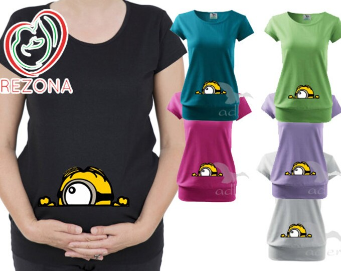 Peeking Minion Carl,Maternity clothes, Maternity Clothing,  Minions Disney Pixar tShirt, Pregnancy Shirt,Peekaboo, Minion Baby Shower
