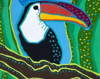 Toucan Gouache Painting, Colorful Toucan Painting, Toucan Art, Toucan Portrait Painting