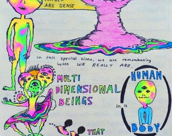 Multidimensional Beings Trippy Poster Psychedelic Print A5