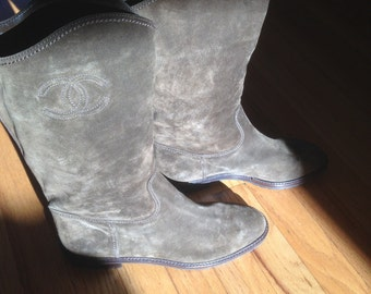 Chanel shoes boots vintage 1992 in Box (euro-size 41 = size 10 to 10 1/2 US) Sale!