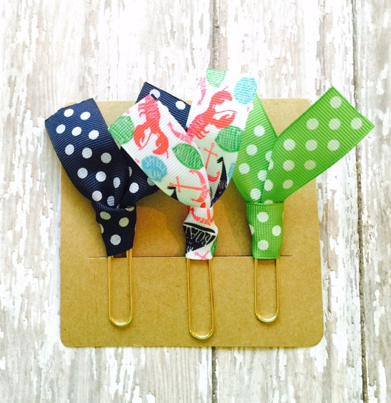 """Lilly Pulitzer """"Rock My Boat"""", Green Dot, and Navy Dot Ribbon Paper Clips - Set of Three - Great for Planners, Notebooks, Bookmarks & More!"""