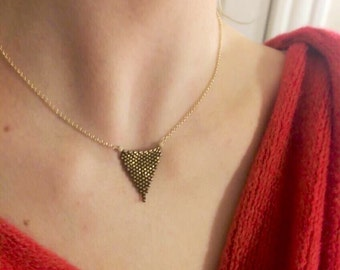 Bronze Peyote Stitched Triangle on Gold Plated Chain