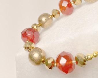 Gold and Orange Quartz Bracelet