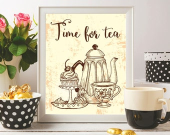 Tea printable art Tea print Time for tea Teapot art print Teapot poster Tea art print Tea quotes Tea pot print Kitchen prints Kitchen decor