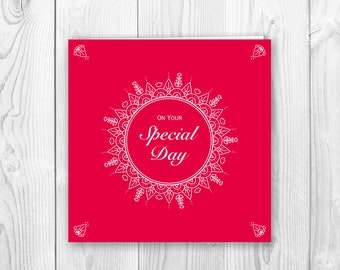 Special Day Greeting card - Red Mandala