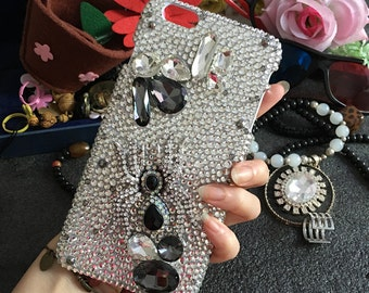 Luxury Bling Lovely Metal Spider Clear Gray Gems Sparkles Charms Crystals Rhinestones Diamonds Fashion New Hard Cover Case for Mobile Phones