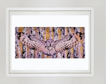 Owl Flying in the Trees A3 Print