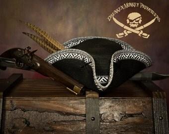 Black Pirate Tricorn Hat