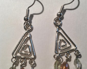 Triangular spiraled Petit Chandelier Earrings with Crystal Beads