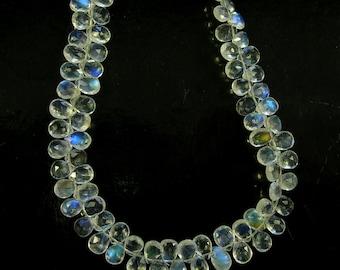 "Rainbow moonstone faceted pear bead AAA+ 7-8mm 8"" strand"