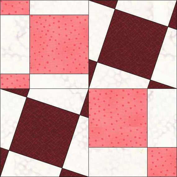 Quilt Patterns Using 6 Inch Squares : Square Block - 6x6 Inch - Geometric Pattern - Tilted Squares - Instant Download - Paper Pieced ...