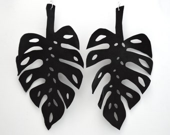 READY TO SHIP:  Hand-cut Leather Monstera Leaf Earrings in Coal Black Leather