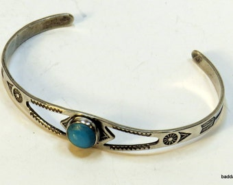 Totally sweet babies sterling silver and turquoise cuff bracelet