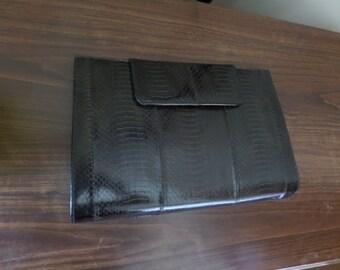 GREAT DEAL J Renee Snake Skin Clutch with Detachable Strap  Black Purplish Tint