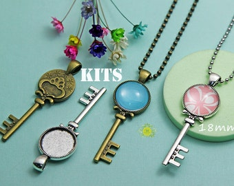 5 Complete DIY Pendant Kits,18mm Antique Style Key Pendant Tray Settings+Glass Cabochons+ Chain Necklaces,Choice of 2 Color