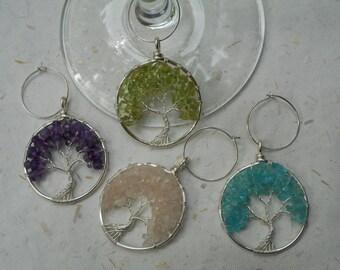 Set of 4 Tree of Life Wine Glass Charms