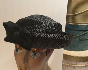 50% Off Sale Vintage Midinette Black Straw Boater Hat/Paris 1940's